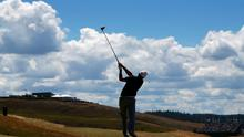 Jordan Spieth watches his tee shot on the eighth hole during the second round of the U.S. Open golf tournament at Chambers Bay on Friday (AP Photo/Matt York)