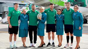All set: Ireland's rugby players Johnny Sexton, Rob Kearney, Robbie Henshaw and Conor Murray with Aer Lingus cabin crew Nicole Leonard, Lianne Stapleton, Shannen McDonnell and Sophie Warren before the squad departed for the Rugby World Cup in Japan. Photo: Frank McGrath