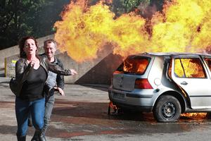Fair City Eps 147 TX: Thursday September 18th 2014 Carol and Dan run from burning car L-R  Carol - Aisling O'Neill Dan - Steve Gunn