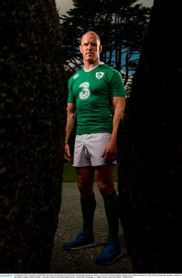 22 September 2014; Canterbury and the IRFU have today unveiled the new Ireland home and alternate playing kits will be worn for the first time during the Guinness Series when Ireland take on South Africa, Georiga and Australia.  Pictured at the launch is Ireland's Paul O'Connell.  Canterbury Ireland Jersey launch media activity, Carton House, Maynooth, Co. Dublin. Picture credit: David Maher / SPORTSFILE