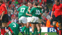GLORY DAYS: Ronan O'Gara celebrates victory with David Humphreys (10) and Kevin Maggs over Wales during the 2003 Six Nations. Pic: Sportsfile.