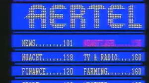 An old photo of the Aertel teletext page. Image credit: RTÉ.