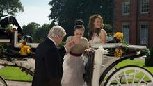 Photo issued by ITV of Coronation Street Tracy Barlow (right), played by Kate Ford, Ken Barlow, played by Bill Roache and Amy Barlow, played by Elle Mulvaney leaving the carriage before the wedding ceremony reaches it's dramatic conclusion in the ITV1 soap. Joseph Scanlon/ITV/PA Wire