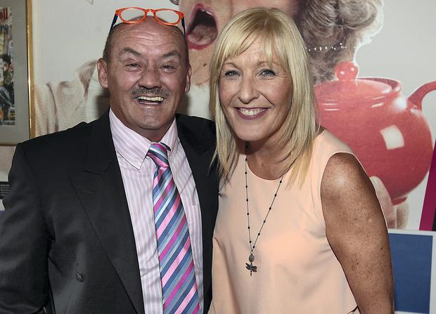 Brendan O Carroll and actress wife Jennifer Gibney pictured at the opening of his exhibition