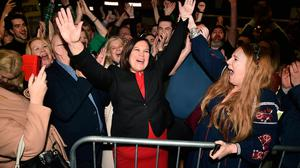 Saw SF swing coming ... Sinn Fein leader Mary Lou McDonald celebrates with her supporters after being elected at the RDS Count centre on February 9