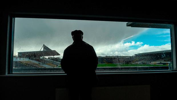 Damien O'Connell, the Kilkenny match programme editor, looks out from the Executive Room in Arus Cearbhaill in advance of the Allianz Hurling League Division 1A Round 3 match between Kilkenny and Cork at Nowlan Park in Kilkenny. Photo by Ray McManus/Sportsfile