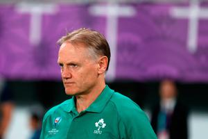 Ireland's head coach Joe Schmidt looks on after losing the Japan 2019 Rugby World Cup quarter-final match between New Zealand and Ireland at the Tokyo Stadium in Tokyo on October 19, 2019. (Photo by Odd ANDERSEN / AFP) (Photo by ODD ANDERSEN/AFP via Getty Images)