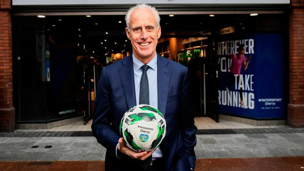 The Football Association of Ireland are delighted to announce a new partnership with the leading Irish sports retailer INTERSPORT Elverys, as the new title sponsor of the FAI Summer Soccer Schools. Pictured at the announcement is Republic of Ireland manager Mick McCarthy at INTERSPORT Elverys, Henry Street in Dublin. Photo: Stephen McCarthy/Sportsfile