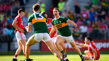 23 June 2018; Stephen OBrien, right, celebrates with his Kerry team-mate David Clifford after after scoring his side's first goal during the Munster GAA Football Senior Championship Final match between Cork and Kerry at Páirc Ui Chaoimh in Cork. Photo by Stephen McCarthy/Sportsfile