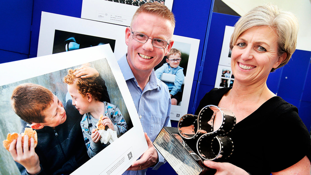 PPAI Press Photographer of the Year Gerry Mooney alongside Siobhán O'Donnell, head of external communications at the Dublin Airport Authority, at the opening of the PPAI Photographic Exhibition at Terminal 1, Dublin Airport. Photo: Steve Humphreys