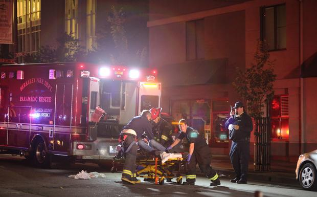 Berkeley, United States. 16th June 2015 A balcony collapsed at the Library Gardens Apartments, in Berkeley, California, early Tuesday