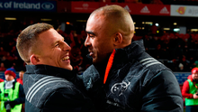 Andrew Conway and Simon Zebo of Munster celebrate after the match between  against Connacht at Thomond Park. Photo: Diarmuid Greene/Sportsfile