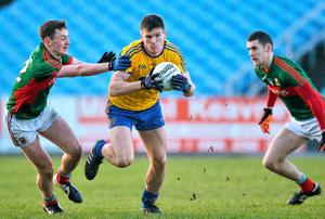 Mark Healy, Roscommon, in action against Diarmuid O'Connor, Mayo