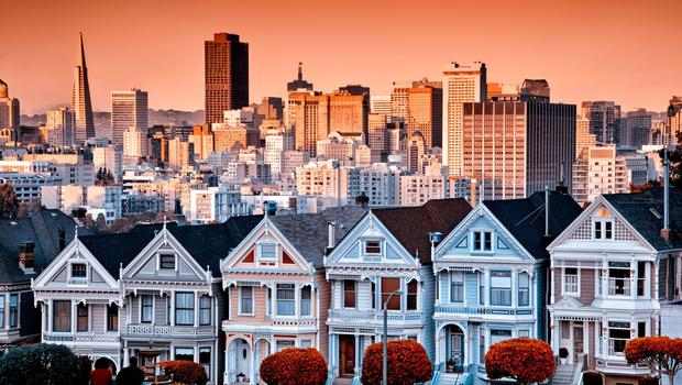 Iconic Victorian houses in San Francisco