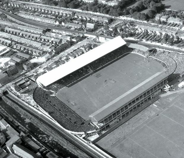 A141(A) Croke Park. Source N/A. N.D. (Independent Aerial Photographic Collection) These aerial views of Ireland from the Morgan Collection were taken during the mid-1950's, comprising medium and low altitude black-and-white birds-eye views of places and events, many of which were commissioned by clients. In 1957, a number were published weekly in the Irish Independent in a series called, 'Views from the Air'. The photographer was Alexander 'Monkey' Campbell Morgan.  (Part of the NPA/Independent Newspapers Collection)