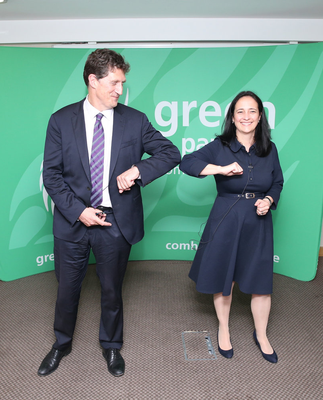 Play hardball: Catherine Martin (right) congratulates Eamon Ryan after he was re-elected Green Party leader yesterday. Photo: Collins
