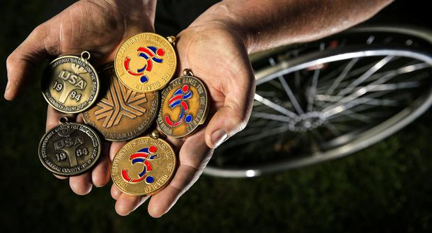 Gerry O'Rourke a former international Irish athlete pictured holding some of his medals for Stephen Bennett interview.  Picture; Gerry Mooney