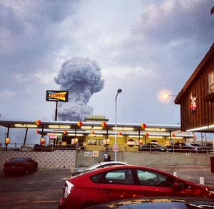 A view of the explosion in Texas. Photo: Andy Bartee Instagram