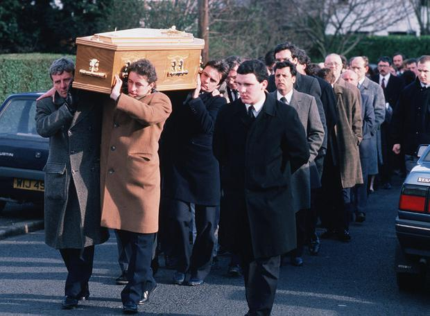 Grieving: Mourners at the funeral of Pat Finucane in Belfast. Photo: Pacemaker