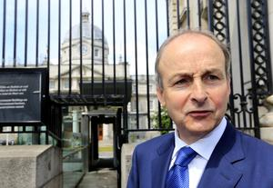 Micheal Martin pictured leaving Government buildings.               Picture; Gerry Mooney