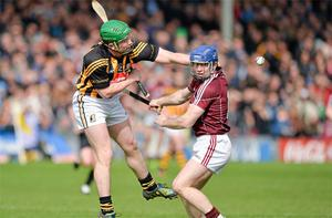 Kilkenny's Paul Murphy battles with Damien Hayes of Galway during their game in Thurles