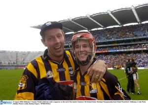 8 August 2004; Kilkenny's Tommy Walsh celebrates with a supporter at the end of the match. Guinness All-Ireland Senior Hurling Championship Semi-Final, Waterford v Kilkenny, Croke Park, Dublin. Picture credit; Damien Eagers / SPORTSFILE