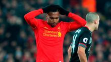 Liverpool's Daniel Sturridge rues a missed chance during the EFL Cup Semi Final, Second Leg match at Anfield