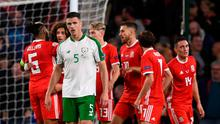 Ciaran Clark of Republic of Ireland reacts after Wales score their third goal during the UEFA Nations League match between Wales and Republic of Ireland at the Cardiff City Stadium in Cardiff, Wale. Photo by Stephen McCarthy/Sportsfile