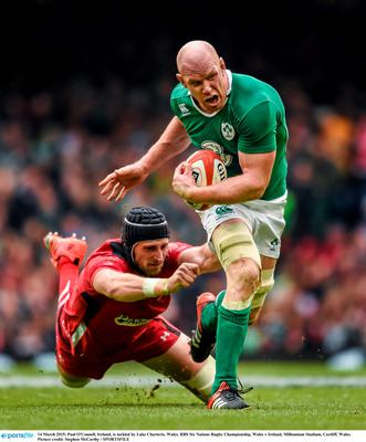 14 March 2015; Paul O'Connell, Ireland, is tackled by Luke Charteris, Wales. RBS Six Nations Rugby Championship, Wales v Ireland, Millennium Stadium, Cardiff, Wales.  Picture credit: Stephen McCarthy / SPORTSFILE