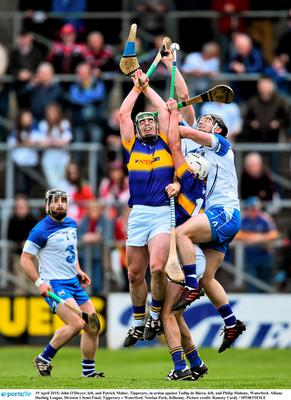 19 April 2015; John O'Dwyer, left, and Patrick Maher, Tipperary, in action against Tadhg de B?rca, left, and Philip Mahony, Waterford. Allianz Hurling League, Division 1 Semi-Final, Tipperary v Waterford. Nowlan Park, Kilkenny. Picture credit: Ramsey Cardy / SPORTSFILE
