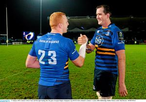 Leinster's Devin Toner and Darragh Fanning after the game