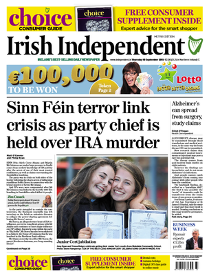 The front page of this morning's Irish Independent