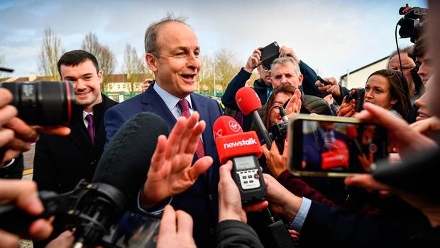Under pressure: Micheál Martin arrives for the count at the Cork South-Central constituency at Nemo Rangers GAA club. Photo: Jeff J Mitchell/Getty Images