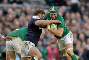 Ireland's Dan Tuohy is tackled by Scotland's Ross Ford during yesterday's Six Nation's clash