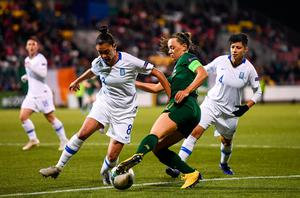 Ireland's Katie Mccabe in action against Danai-Eleni Sidira and Anastasia Gkatsou of Greece during the UEFA Women's 2021 European Championships qualifier at Tallaght Stadium in Dublin. Photo by Stephen McCarthy/Sportsfile