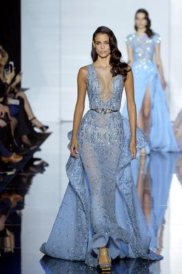 A model presents a creation by Zuhair Murad during the 2015 Haute Couture Spring-Summer collection fashion show on January 29, 2015 in Paris.