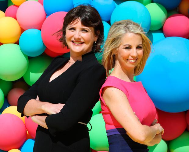 16/8/2018 RTE announce New Season Launch - who says news cant be colourful - L-R: News presenters, Keelin Shanley and Caitriona Perry at a photocall at RTE Donnybrook in Dublin yesterday(Thurs).Pic: Collins