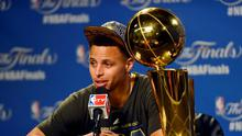 Golden State Warriors guard Stephen Curry (30) talks to the media after beating the Cleveland Cavaliers in game six of the NBA Finals at Quicken Loans Arena