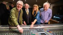 Paul Brady; President of Ireland Michael D Higgins; Naomi Moore, Chief Executive Officer at Windmill Lane Recording Studios Pic: Naoise Culhan