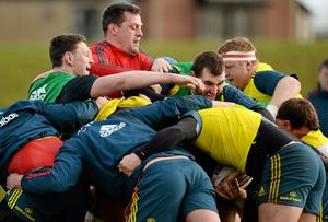 Munster players, from left, Lee Nicholas, James Coughlan, James Cronin and Stephen Archer during a maul at a squad training session