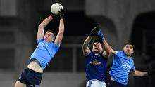 Lord of the skies: Dublin's Brian Fenton fetches possession ahead of team-mate David Byrne and Cavan's Thomas Galligan during the All-Ireland SFC semi-final last month. Photo: Sportsfile