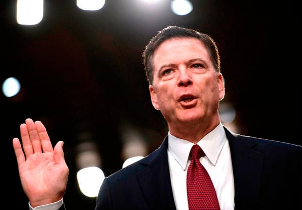 Former FBI director James Comey testifying before a Senate Intelligence committee hearing on Capitol Hill last June, Photo: Getty Images