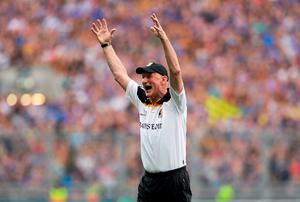 Brian Cody celebrates at the final whistle after Kilkenny's All-Ireland final victory over Tipperary. Photo: Pat Murphy / SPORTSFILE