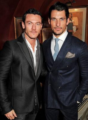 Actor Luke Wilson and model David Gandy show off their cheekbones at the drinks event
