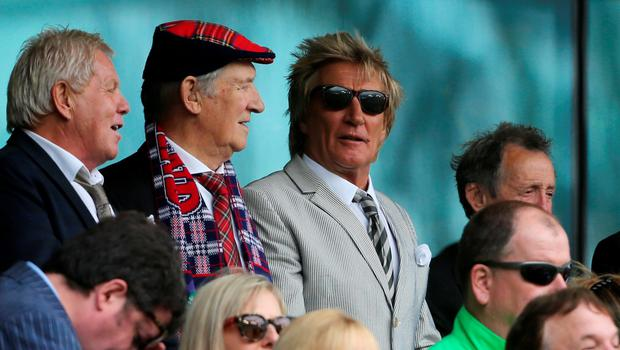 Rod Stewart watches the action during the UEFA European Championship Qualifying match at the Aviva Stadium, Dublin Niall Carson/PA Wire