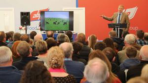 Adam Henson delivers his presentation to in the ABP stand at Balmoral Show. PIC: Matt Steele/McAuley Multimedia
