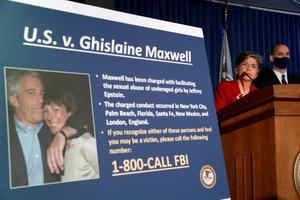 Audrey Strauss, Acting United States Attorney for the Southern District of New York speaks alongside William F. Sweeney Jr., Assistant Director-in-Charge of the New York Office, at a news conference announcing charges against Ghislaine Maxwell for her role in the sexual exploitation and abuse of minor girls by Jeffrey Epstein in New York City, New York, U.S., July 2, 2020. REUTERS/Lucas Jackson