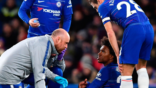 Chelsea's Willian is treated on the pitch. Photo: Getty Images
