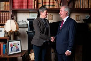 Browne family confirm the sale of historic Westport House and Estate. Owners of Hotel Westport to invest €50 million and create 200 jobs. Pictured at Westport House today. L/R  Ms Sheelyn Browne (Owner and Daughter of the late Lord Altamount) and Mr. Cathal Hughes (Chairman of The Hughes Group). Pic: Michael McLaughlin
