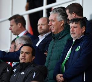 The then FAI chief executive John Delaney and FAI president Donal Conway watch the game from the stand. Photo: Seb Daly/Sportsfile